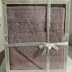купить Набор махровых полотенец Sikel кружево Verona 3 шт лиловый