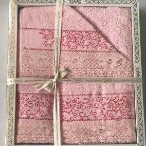купить Набор махровых полотенец Sikel кружево Verona 3 шт розовый