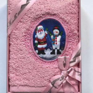 купить Полотенце Massimo Monelli Санта и Снеговик розовый