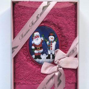 купить Полотенце Massimo Monelli Санта и Снеговик фуксия