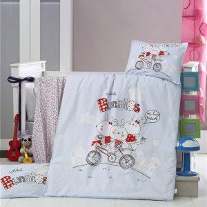купить Постельное белье для младенцев Victoria Ранфорс Bunnies Голубой фото