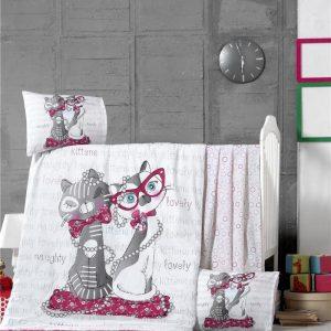 купить Постельное белье для младенцев Victoria Ранфорс Kittens Розовый фото