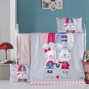 купить Постельное белье для младенцев Victoria Ранфорс Love Rain Голубой фото