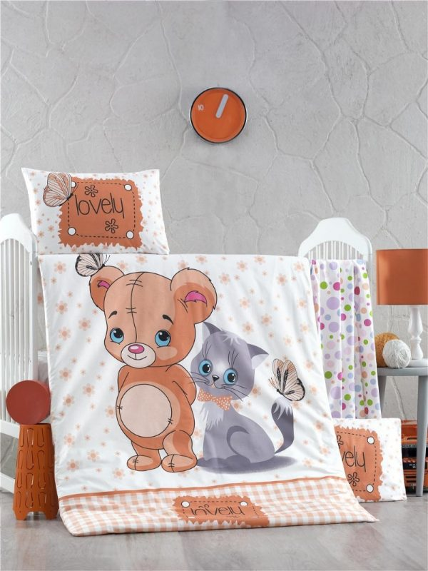 купить Постельное белье для младенцев Victoria Ранфорс Mouse and Cat Бежевый фото