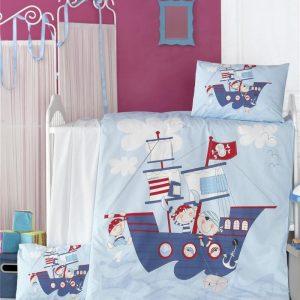 купить Постельное белье для младенцев Victoria Ранфорс Ship Голубой фото