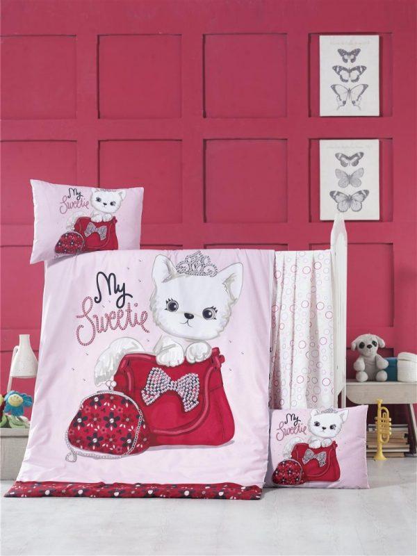 купить Постельное белье для младенцев Victoria Ранфорс Tiny Cat Розовый фото