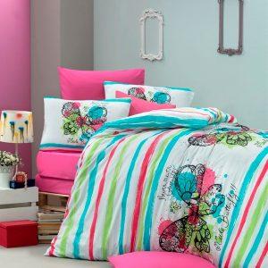 купить Постельное белье для подростков Victoria ранфорс Cute Butterfly бирюзовый Бирюзовый фото