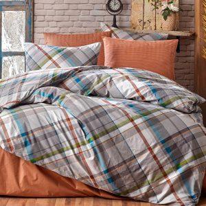 купить Постельное белье Zugo Home ранфорс Plaid V1 mavi Оранжевый фото