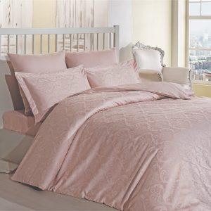 купить Комплект постельного белья Zugo Home жаккард Damask pudra V01 Розовый фото