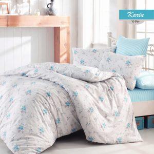 купить Комплект постельного белья Zugo Home ранфорс Karin V5 Голубой фото