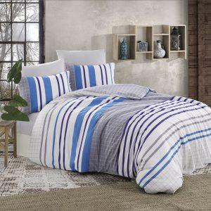 купить Комплект постельного белья Zugo Home ранфорс Thebe V1 Голубой фото