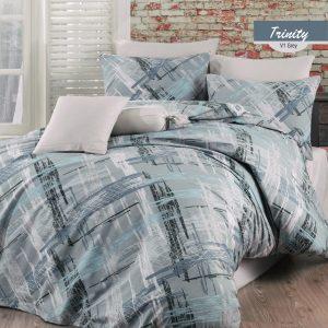 купить Комплект постельного белья Zugo Home ранфорс Trinity V1 Голубой фото