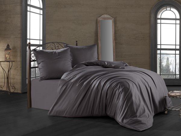 купить Комплект постельного белья Zugo Home сатин однотонный Antrasit Серый|Черный фото