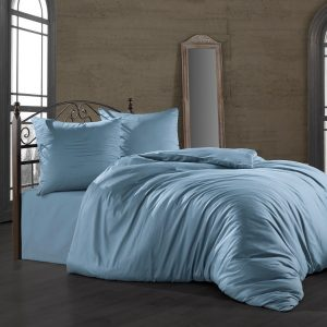 купить Комплект постельного белья Zugo Home сатин однотонный Mavi Голубой фото