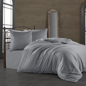 купить Комплект постельного белья Zugo Home сатин однотонный Silver Серый фото