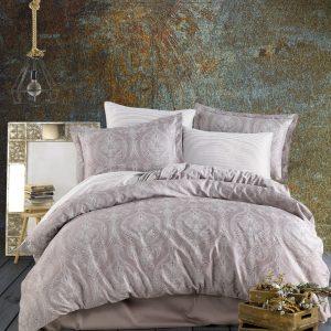 купить Комплект постельного белья Zugo Home сатин Jacquard brown Коричневый Бежевый фото