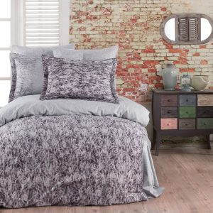 купить Комплект постельного белья Zugo Home сатин Tamara V1 Фиолетовый Серый фото