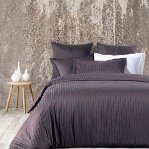 купить Комплект постельного белья Zugo Home страйп-сатин Exclusive antrasit Серый Черный фото