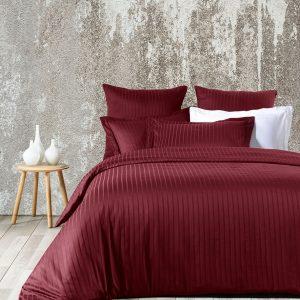 купить Комплект постельного белья Zugo Home страйп-сатин Exclusive bordo Бордовый фото