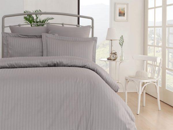купить Комплект постельного белья Zugo Home страйп-сатин Exclusive gri Серый фото