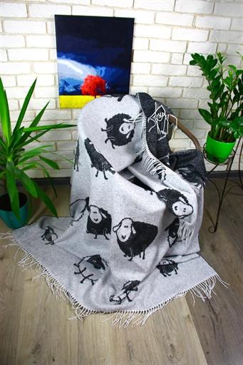 купить Плед Funny Moose 140*200 Черный|Серый