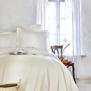 купить Постельное белье с покрывалом пике Karaca Home Elonora ekru 2020-1 Кремовый фото