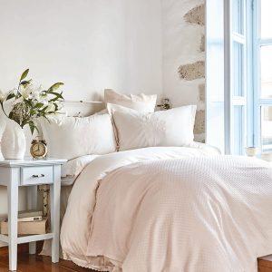 купить Постельное белье с покрывалом пике Karaca Home Elonora pudra 2020-1 Розовый фото