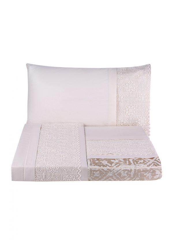 купить Постельное белье с покрывалом пике Karaca Home Maya gold 2020-1 Розовый Кремовый фото