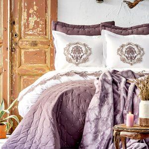 купить Постельное белье с покрывалом + плед Karaca Home Chester murdum 2020-1 Фиолетовый|Белый фото