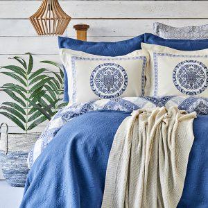 купить Постельное белье с покрывалом + плед Karaca Home Levni mavi 2020-1 Голубой фото