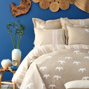 купить Постельное белье с покрывалом Karaca Home Albatros bej 2020-1 Бежевый фото