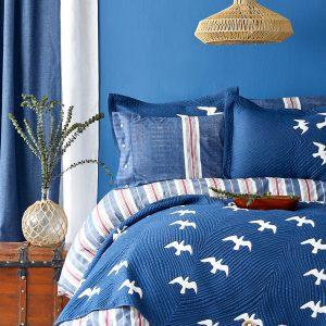 купить Постельное белье с покрывалом Karaca Home Albatros lacivert 2020-1 Синий фото