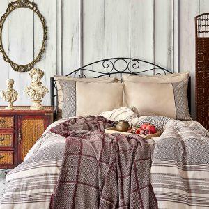 купить Постельное белье с покрывалом Karaca Home Sadra bordo 2020-1 Коричневый фото