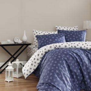 купить Постельное белье First Choice de luxe ранфорс цветной light lacivert Синий фото