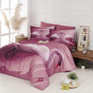 купить Постельное белье First Choice vip сатин 3d 200х220 swan pudra Розовый фото