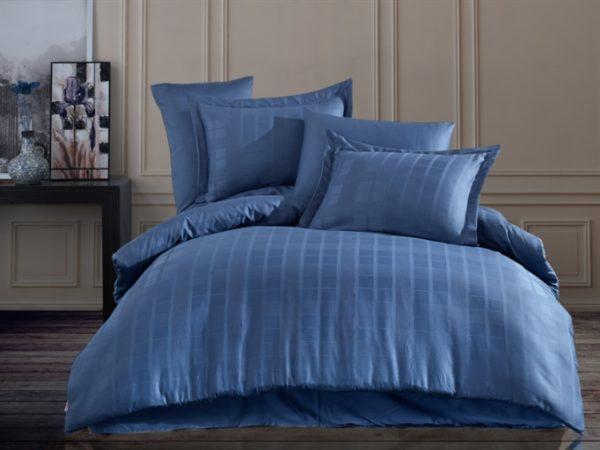 купить Постельное белье Hobby Exclusive Sateen Diamond Ekose Синий Синий фото
