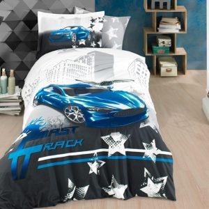 купить Постельное белье Hobby Poplin Fast Track blue Синий|Серый фото