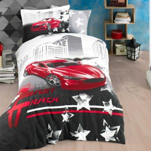 купить Постельное белье Hobby Poplin Fast Track red Серый|Красный фото