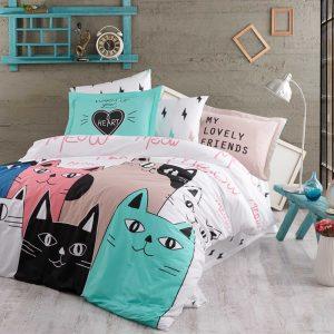 купить Постельное белье Hobby Poplin Love Cats Розовый фото