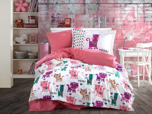 купить Постельное белье Hobby Poplin Miouu розовый Розовый фото