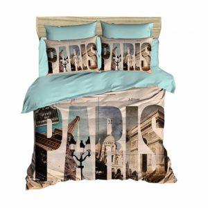 купить Постельное белье Lighthouse Ranforce 3D Paris Голубой|Бежевый фото