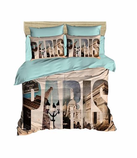 купить Постельное белье Lighthouse Ranforce 3D Paris Голубой Бежевый фото