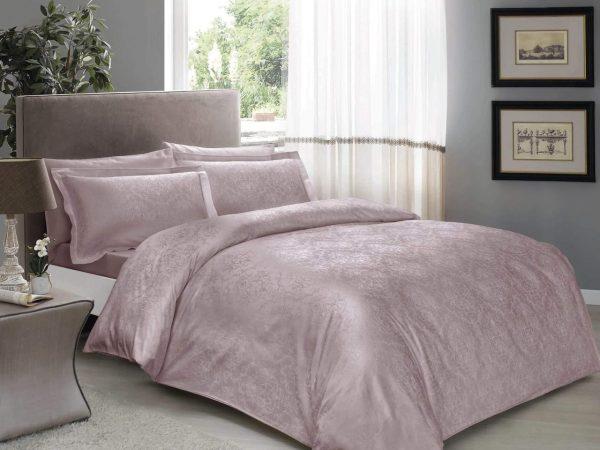 купить Постельное белье TAC жаккард Daria lila Лиловый|Розовый фото