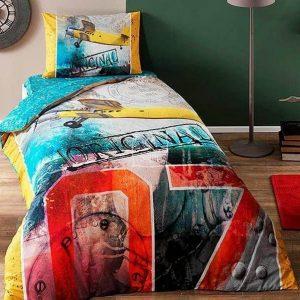 купить Постельное белье TAC Ranforce Teen Plane sari v01 Голубой фото