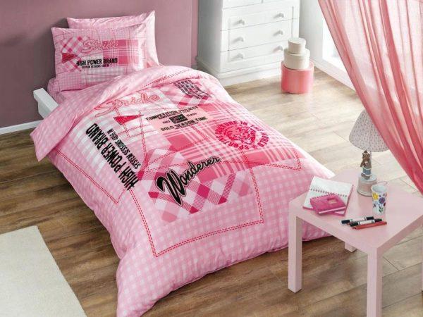 купить Постельное белье TAC Ranforce Teen Time v02 pembe Розовый фото