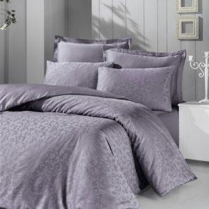 купить Постельное белье Victoria Deluxe Jacquard Sateen Rimma Серый|Фиолетовый фото