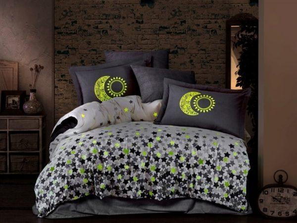 купить Светящееся постельное белье Hobby Poplin Stars Phosphor Серый фото
