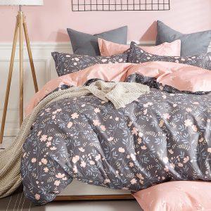 купить Постельное белье La Scala сатин Y230-900 Серый Розовый фото