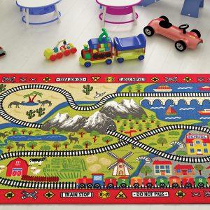 купить Коврик в детскую комнату Confetti Railway Kirmizi 100x150