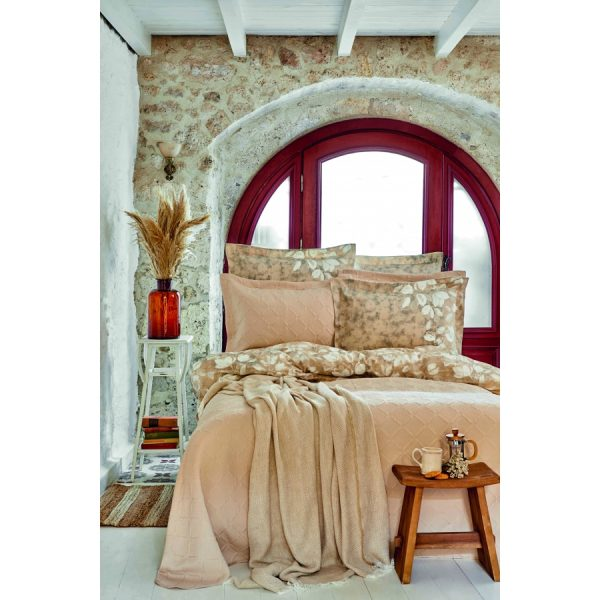 купить Постельное белье с покрывалом и пике Karaca Home - Bush bej 2020-2 Бежевый фото